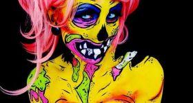 Бодиарт кислотной девушки-зомби