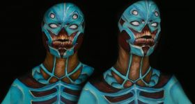 Боди-арт: Синий демон из DOOM
