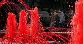 Фонтан с кровью привлек внимание жителей Бухареста