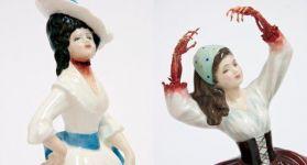 Кровавые фарфоровые статуэтки