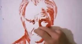 Турок рисует кровью из пальца