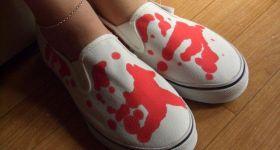 Кровавая одежда и обувь